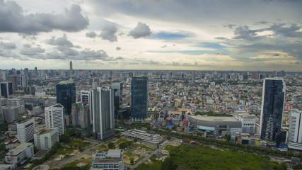 aerial view of high building at ratchadaphisek road district bangkok thailand