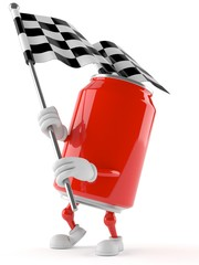 Soda can character with racing flag