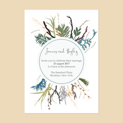 The text is in a circle. Frame of branches and grass wedding invitation card template vector