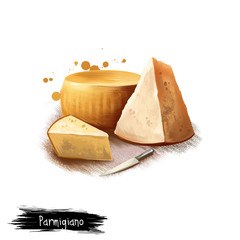 Parmigiano cheese with knife digital art illustration isolated on white background. Fresh dairy product, healthy organic food in realistic design. Delicious appetizer, gourmet snack italian meal