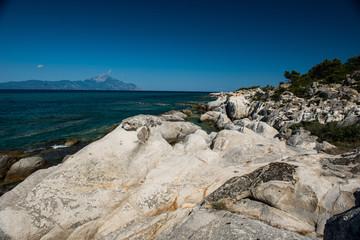 White rocks near sea as background