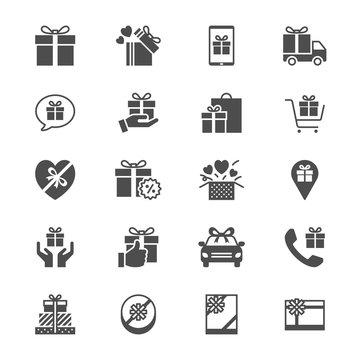 Gift flat icons