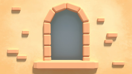 Cartoon arched window of ancient castle. Concept of fairy tales for children. 3d render picture.