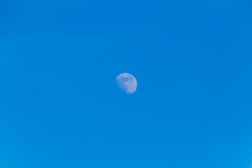 Beautiful moon on the clear blue sky