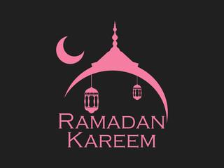Ramadan Kareem. Mosque and a crescent. Lantern and moon. Muslim holiday lights.  Vector illustration