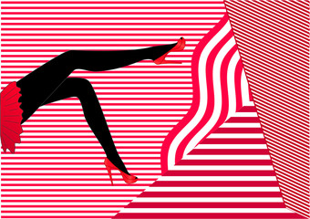 Silhouette of long female legs in red high-heeled shoes and a short red skirt sitting on a red-white striped background, side view, horizontal