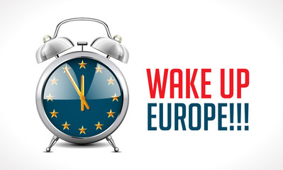 Alarm clock with EU flag - Wake up Europe concept