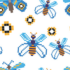 Seamless pattern with blue butterfly and yellow flower. Pixel art. Vector illustration