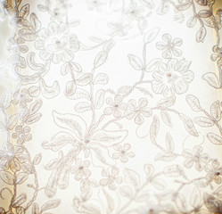 white guipure, embroidery on cloth for wedding dress, texture