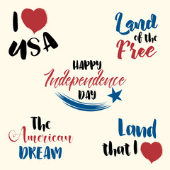 Happy Independence Day, set of vector hand drawn typography quotes, sketch elements isolated on bright background. 4th of July congratulation concept, flyer, card.