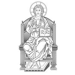 jesus on throne lineart