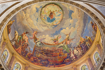 TURIN, ITALY - MARCH 15, 2017: The cupola with the fresco of Battle of Lepanto in 1571 in and Mary Help of Christians in cupola of church Basilica Maria Ausiliatrice by Giuseppe Rollini (1889 - 1891).