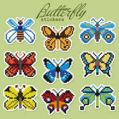 Colorful pixel patch badges with butterflies. Vector illustration