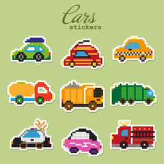 Colorful pixel patch badges with toy cars. Vector illustration