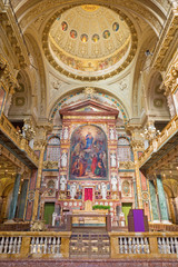 TURIN, ITALY - MARCH 15, 2017:  The Main altar and presbytery of chruch Basilica Maria Ausiliatrice withe the painting by Tommaso Lorenzone (1824  - 1902).