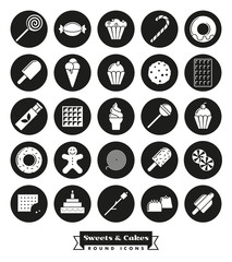 Sweets and cakes solid black round icon Set