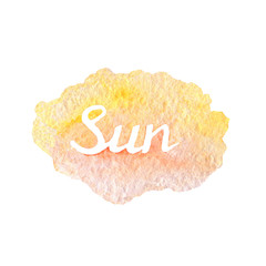Hand drawn watercolor background texture of orange and yellow colors with lettering