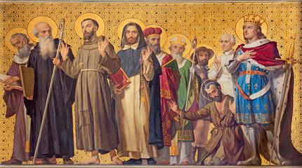 TURIN, ITALY - MARCH 15, 2017: The symbolic fresco of holy Confessor with the in church Chiesa di San Dalmazzo by Enrico Reffo (1831-1917).