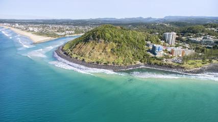 Aerial view of Burleigh Headland National Park, facing the coastline south to Tallebudgerra. Gold Coast, Australia