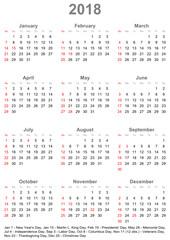 Einfacher Kalender 2018 mit gesetzlichen Feiertagen und Wochenstart Sonntag für die USA