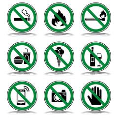 Verbots- & Warnschilder (in Grün/ Schatten)
