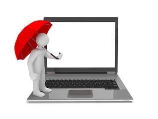 Weisses Männchen mit rotem Regenschirm auf einem Laptop