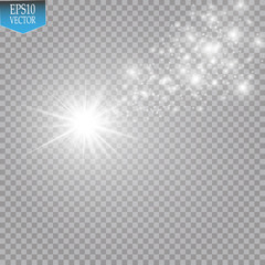 Lights on transparent background. Magic concept. Vector white glitter wave abstract illustration. White star dust trail sparkling particles isolated on transparent background. Magic concept