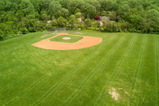 baseball fields aerial view pano