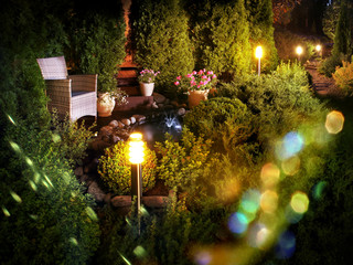 Illuminated home garden fountain patio