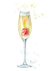 Strawberries and champagne. Picture of a alcoholic drink and berries. Watercolor hand drawn illustration.