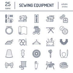 Sewing equipment, tailor supplies flat line icons set. Needlework accessories - sewing embroidery machine, pin, needle, thread, zipper, hanger and other DIY tools. Linear signs set, logos for hand