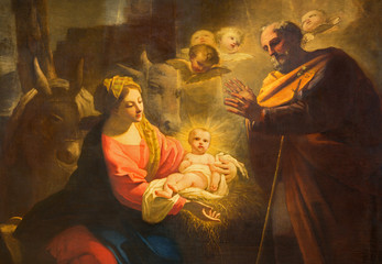 Wall Mural - TURIN, ITALY - MARCH 13, 2017: The detail of painting of Nativity in Duomo by Giovanni Comandu da Mondovi (1795).