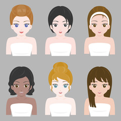 pretty girl in various nationality and hair design, flat design vector