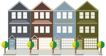 Townhouse with Tandem Color Garage vector illustration