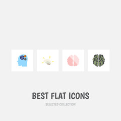 Flat Intelligence Set Of Brain, Intellect, Invention And Other Vector Objects. Also Includes Human, Brainstorming, Mentality Elements.