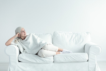 Woman resting after chemo