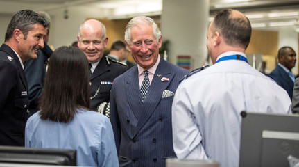 Britain's Prince Charles meets members of the emergency services who were on duty the night of the attack at London Bridge and Borough Market during a visit to the Central Communications Command in London