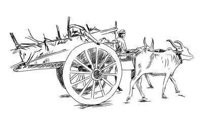 Hand drawn sketch of Bullock cart in vector sketch.
