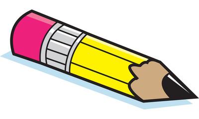 Cartoon illustration of a pencil.