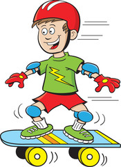 Cartoon illustration of a boy riding a skateboard.