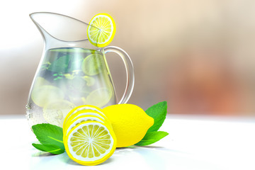 3d rendering of lemonade with ice and mint in a jar on a white table with bokeh background.