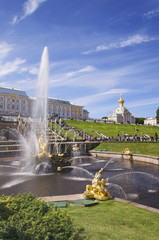 Fountains of the Grand Cascade at Peterhof Palace, St. Petersburg, Russia, Europe