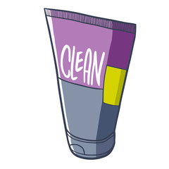 Cool and cute purple grey cleansing foam for men with tube packaging- vector