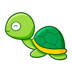 Funny and cute baby turtle smiling happily - vector.