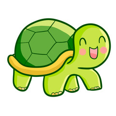 Funny and cute happy turtle walking - vector.