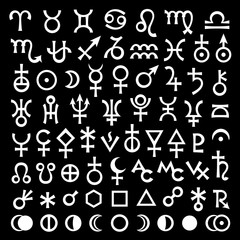 Astrological Signs of Zodiac, Planets, Asteroids, Aspects, Lunar phases, etc. (The big Black Set of Main Astrological Symbols).
