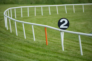 Horse racetrack railing barrier and furlong Distance marker