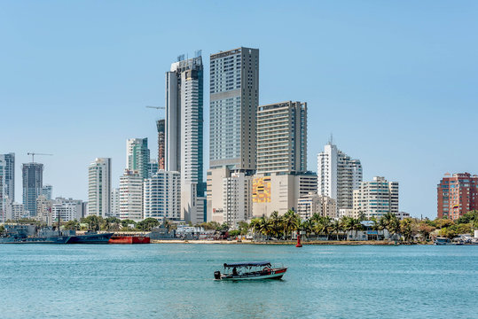Skyline of the city Cartagena, Colombia