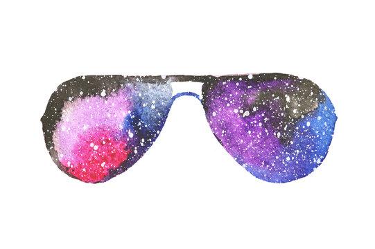 Watercolor sunglasses in beautiful colors of space