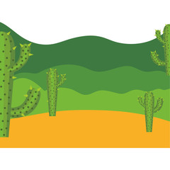colorful background with desert cactus and mountains landscape vector illustration